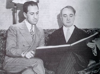 Gershwin with Koussevitsky looking over the score of Second Rhapsody, January 1932